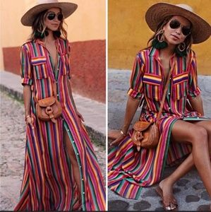 Dresses & Skirts - Stripes shirt red rainbow multi color maxi dress